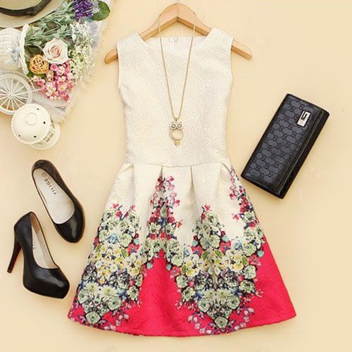 Elegant Ladies Crewneck Tank Top Floral Print Bodycon