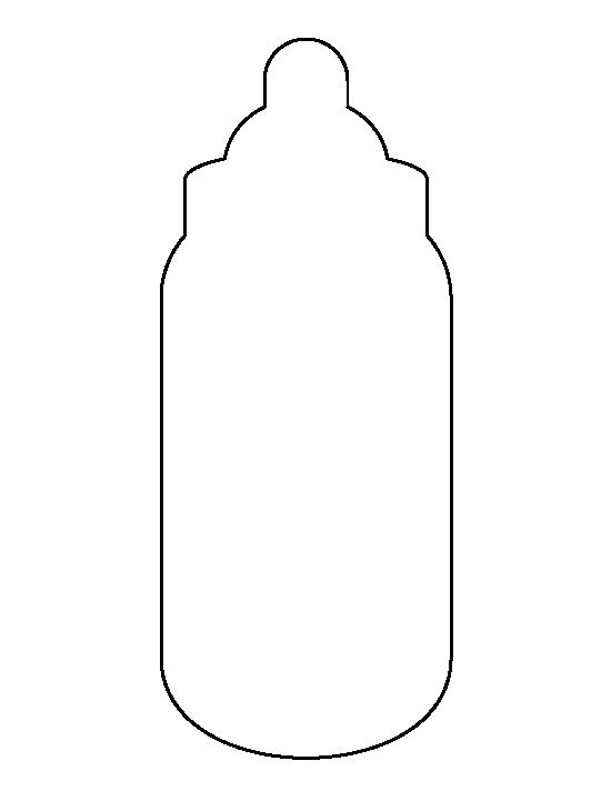 Baby bottle pattern. Use the printable outline for crafts, creating stencils, scrapbooking, and more. Free PDF template to download and print at http://patternuniverse.com/download/baby-bottle-pattern/