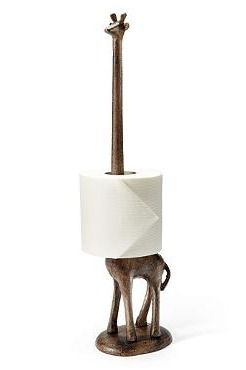 Our Giraffe Paper Holder is a whimsical and attractive accessory for storing and presenting either toilet paper or paper towels.