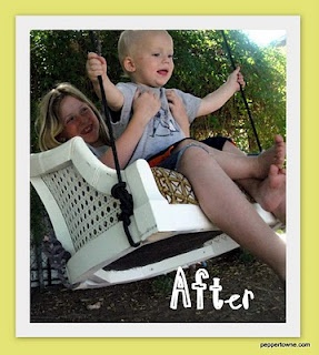 LOVE this swing made from an old chair!