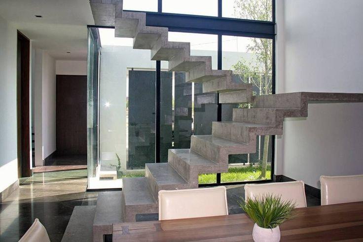 Escalera concreto: Pasillo, hall y escaleras de estilo por Narda Davila arquitectura