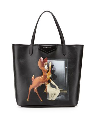 Antigona+Fawn-Print+Medium+Shopper+Bag,+Black+by+Givenchy+at+Bergdorf+Goodman.