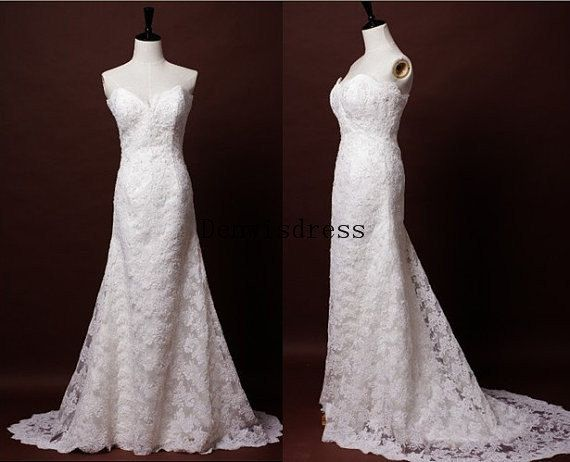 A-line Sweetheart Sleeveless Court Train White Ivory Lace Elegant Backless Wedding Dresses Wedding Gown Bridal Dresses Bridal Gown