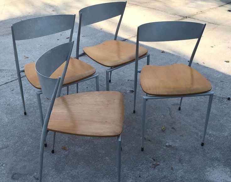 4 Post Ultra Modern Chairs - Extreme Curved Backs - Powder Coated - Mid Century