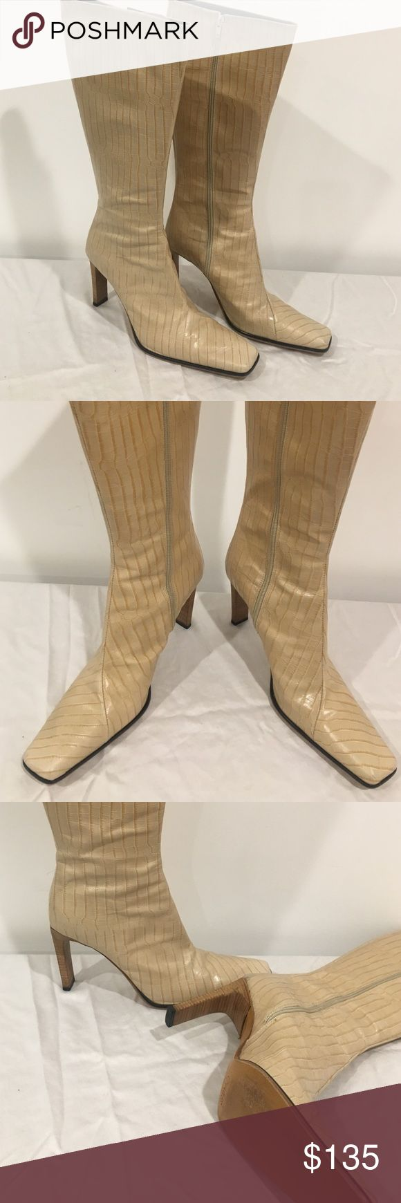 Charles David Croco Beige Boots Charles David Croco Beige Boots - Gently used - in box Charles David Shoes Heeled Boots