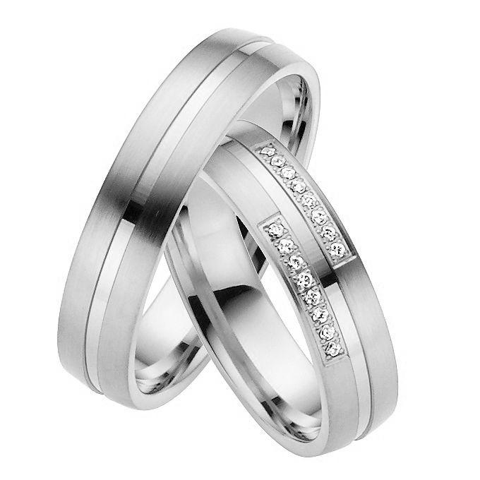 Couple Wedding Band with Diamond. Available in Gold, Palladium, Platinum