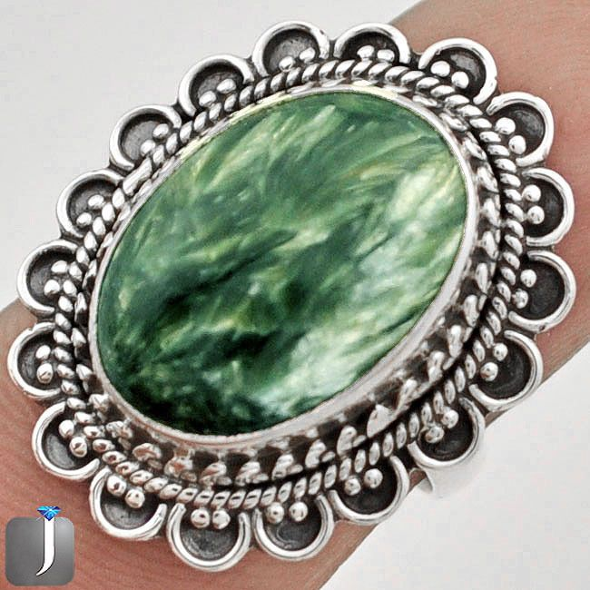 6.50cts GREEN SERAPHINITE .925 STERLING SILVER RING size 7 C75354 #Jewelexi #RingHarness