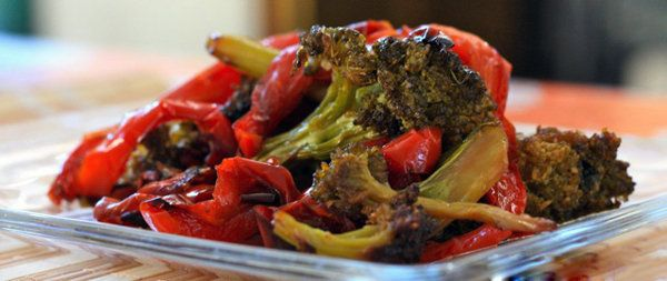 Roasted Broccoli with Red Peppers