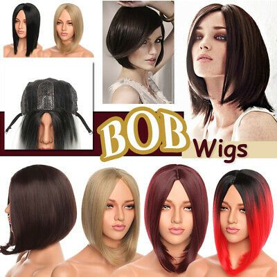 """(Ad) 15"""" - 17"""" BOB HAIR WIG Middle Part Side Bangs Fringes Full Wigs Ombre Grey Black"""