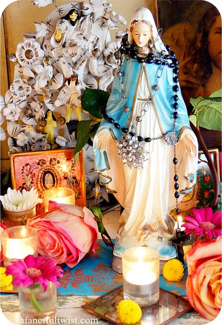 Madonna and the Roses - front of card by A Fanciful Twist, via Flickr