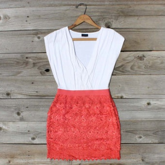 Tucked Lace Dress in Red, Sweet Women's Country Clothing: Sweet Women, Tucks Lace, Woman Dresses, Woman Clothing, Coral Skirts, Colors Blocks, Lace Dresses, Women Country, Country Clothing