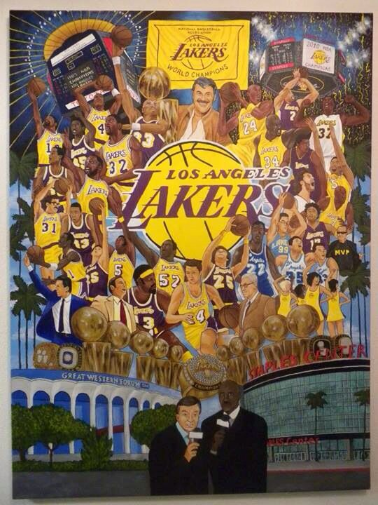 Mural of The history of The Los Angeles Lakers....