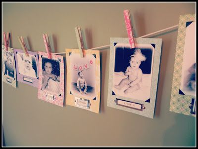 First birthday party monthly picture banner. Map background, pink cut out heart with month in corner?