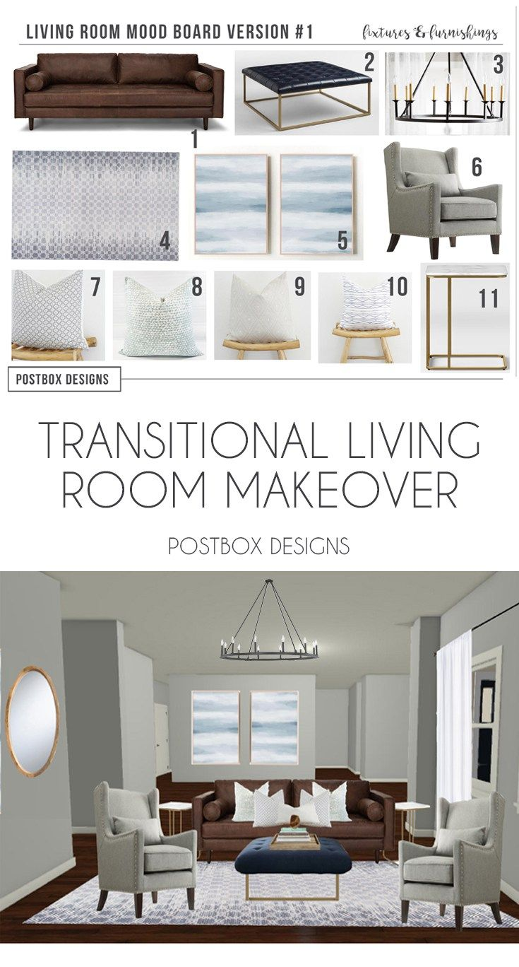 Postbox Designs Interior E Design Transitional Living Room Neutral Family Makeover Online