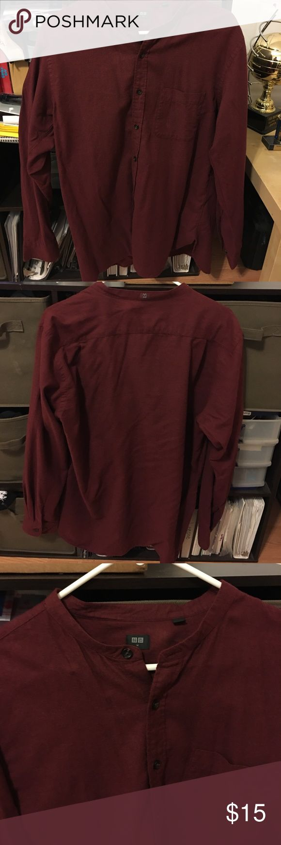Uniqlo long sleeves polo shirt Brand new never worn men maroon long sleeve polo shirt. In great condition. Does not have a collar Uniqlo Shirts Polos