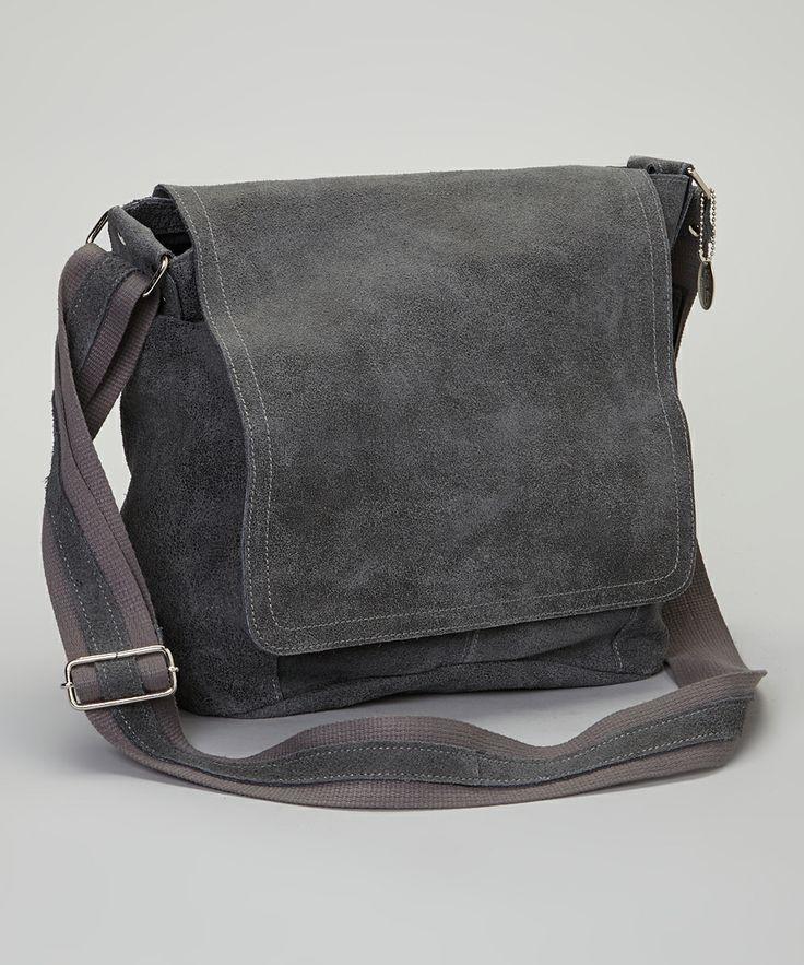 Gray Distressed Vertical Messenger Bag