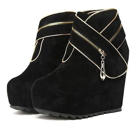 AMAZING BLACK ROUND CLOSED TOE SUPER HIGH HEEL WEDGES