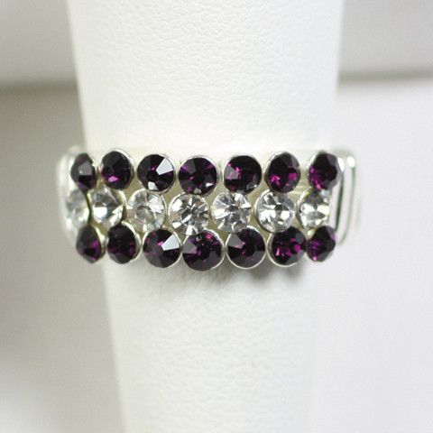 Gameday Purple and Clear Crystal Stretch Ring