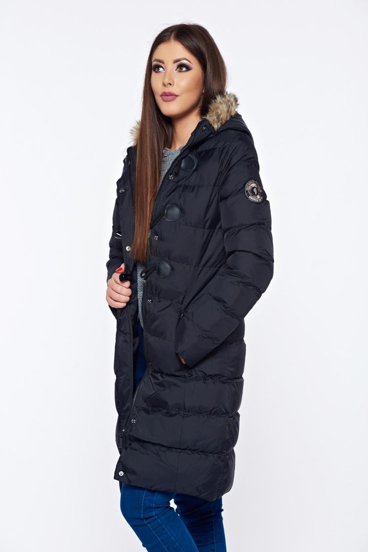 Top Secret black casual jacket with faux fur details with undetachable hood, faux fur details, undetachable hood, eyelets and zipper fastening, zipper details pockets, women`s jacket