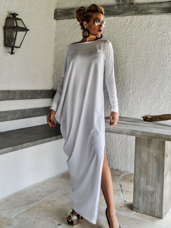 White Maxi Dress Kaftan with Black See-Through by SynthiaCouture