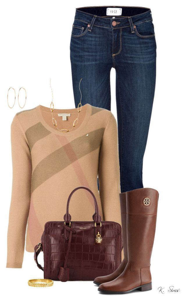 """""""Love Those Tory Boots!"""" by ksims-1 ❤ liked on Polyvore featuring Paige Denim, Burberry, Alexander McQueen, Tory Burch, Ever Eden by Michelle Phan, Lana and River Island"""