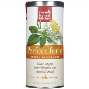 Honest Kitchen Perfect Form for cats and dogs is a herbal supplement to support the normal healthy functioning of your pet's digestive tract. Combats gas, facilitates regularity, firms up loose stools and soothes and protects the GI Tract.  Perfect Form is ideal for pets with Irritable Bowel (IBS) Colitis or occasional digestive upset. Use this supplement in conjunction with a grain-free diet for best results.