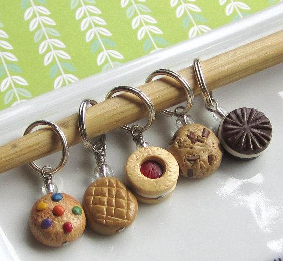 Polymer clay  cookie stitch markers.