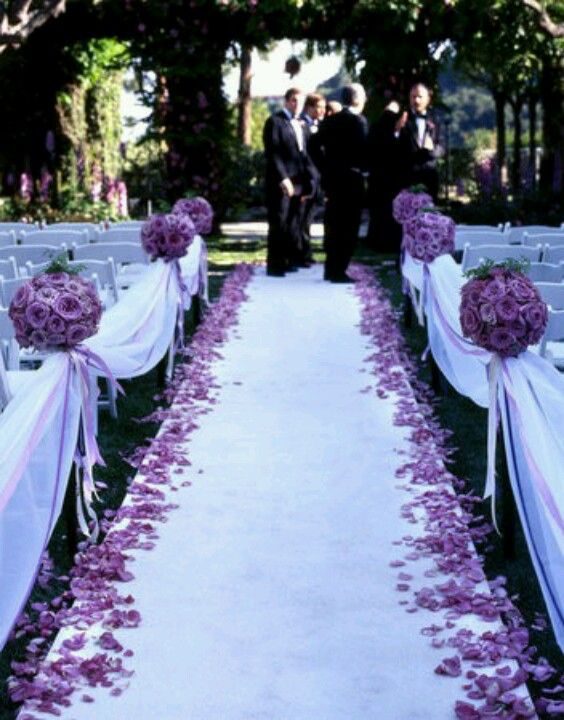 Wedding Ceremony • instead of flowers we will only have fabric and ribbon with small sprigs of baby's breath