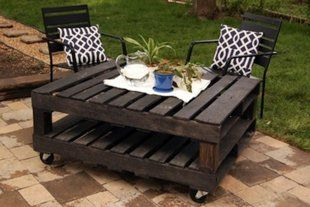 Pallet Table  This gorgeous outdoor table was made by painting old pallets and adding casters.