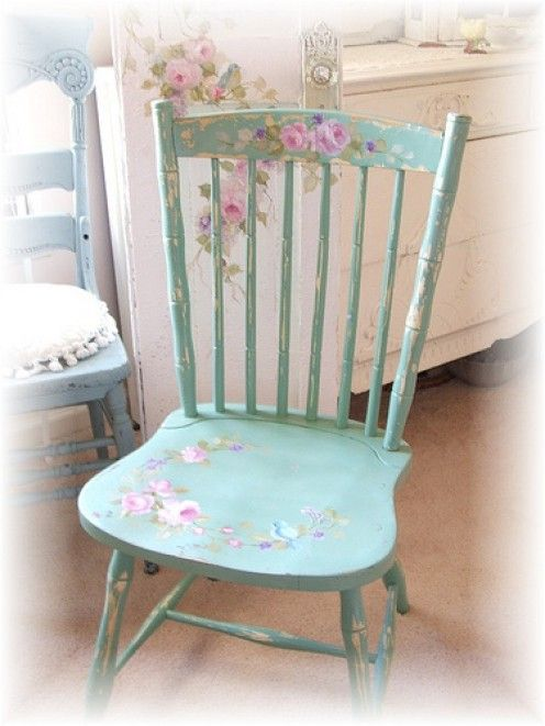 Shabby Chic Chair, Diy Paint And Decoupage (YES! Iu0027m Going To Make These  For My Kitchen Chairs! Find Some At Garage Sales And Paint Them And Stencil  Them!