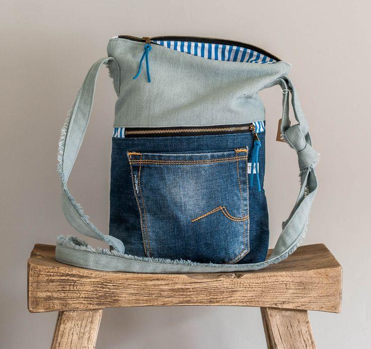 (T5)schoudertas van gerecyclede jeans door www.tofstofcreati… – #Door #gerecyc…
