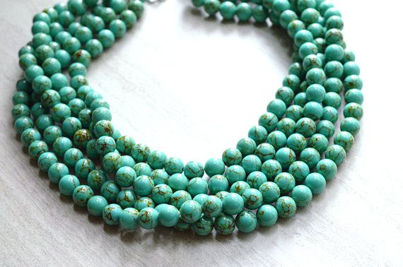 Alana - Green Turquoise Bridesmaid Statement Necklace