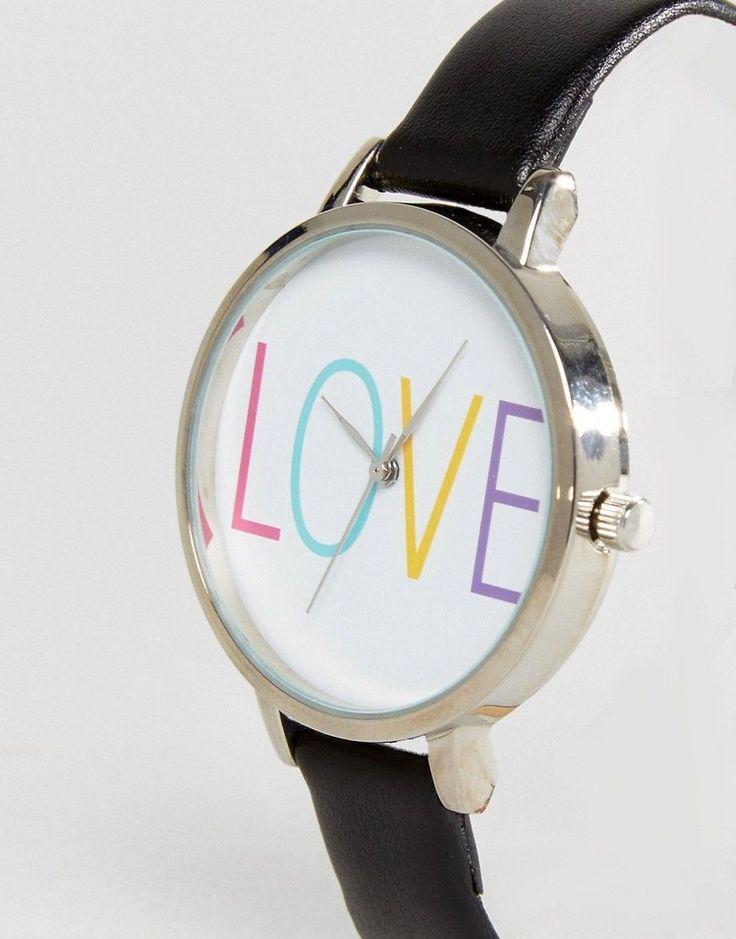 New Look Love Slogan Skinny Strap Watch - Black