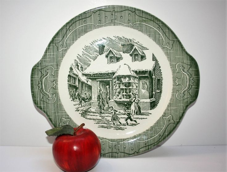 "Vintage ""The Old Curiosity Shop"" Green Transferware Serving Cake Plate Platter China Sebring Ohio by AstridsPastTimes on Etsy"