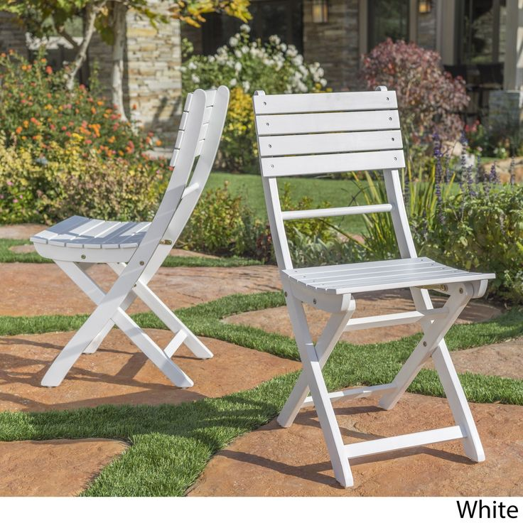 positano outdoor acacia wood folding dining chair set of 2 by christopher knight home white finish patio furniture
