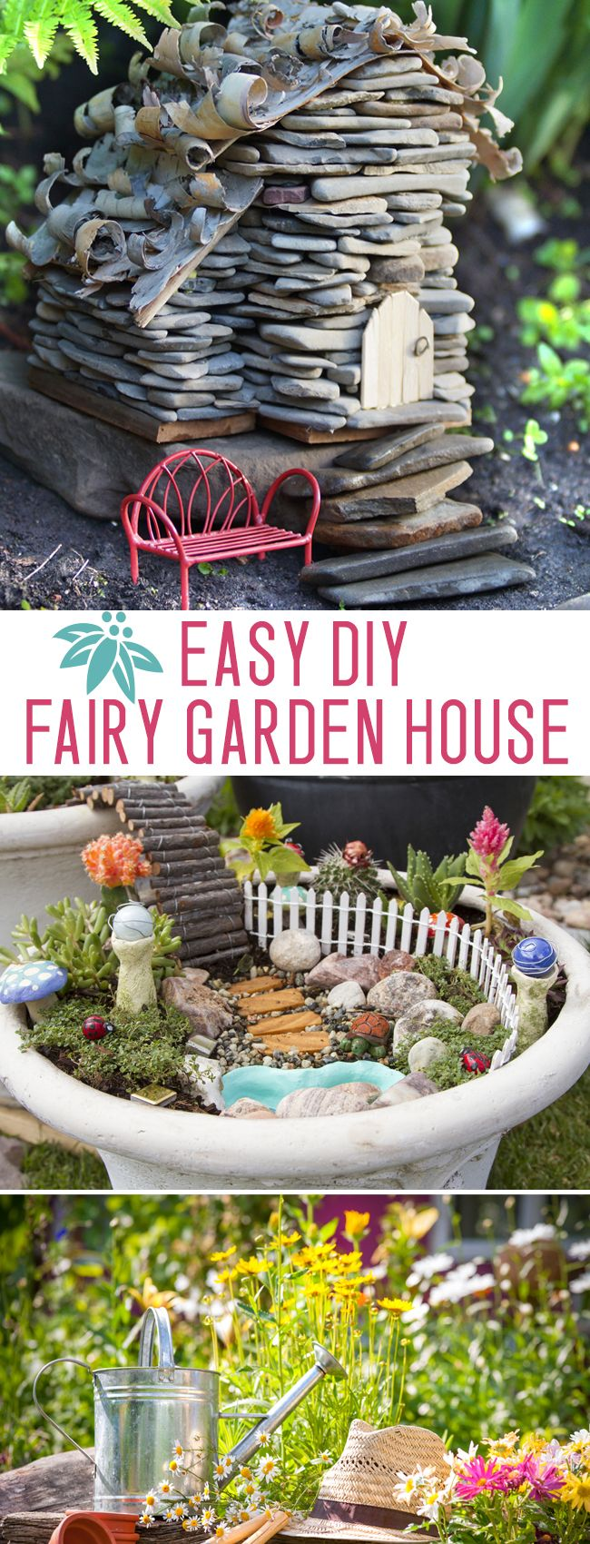 Make an adorable stone fairy garden house - this easy DIY is fun for kids OR grown ups!