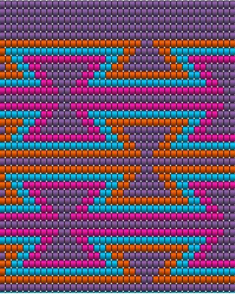 Wayuu Mochila chart   09-Purple OR 28-Dark Magenta, 10-Hot Pink, 80-Turquoise, 40-Bronze OR 41-Goldenrod