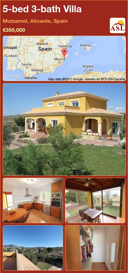 5-bed 3-bath Villa in Mutxamel, Alicante, Spain ►€350,000 #PropertyForSaleInSpain