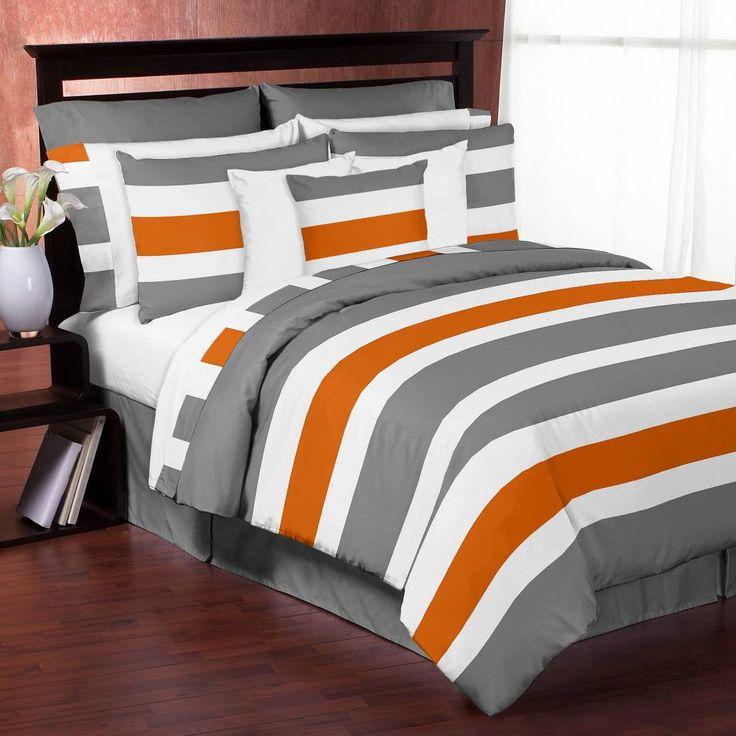 product image for Sweet Jojo Designs Grey and Orange Stripe Comforter Set