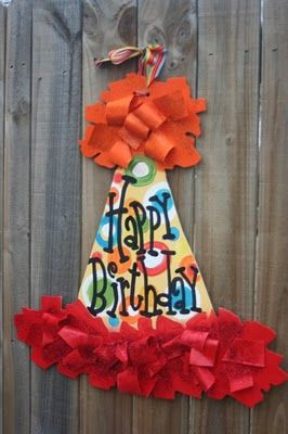 Happy birthday: I believe these are wooden but I am going to try one made out of posterboard.