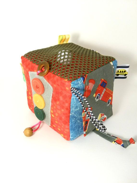Children's activity block fabric developing cube baby by Agutik