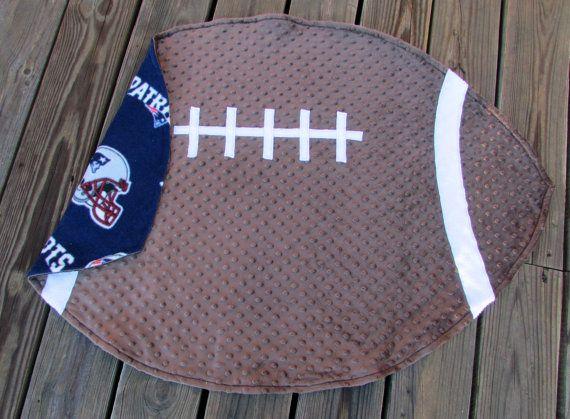 New England Patriots Football Baby Blanket by LovePitterPatter  #PatriotsBlanket #BabyShowerGift