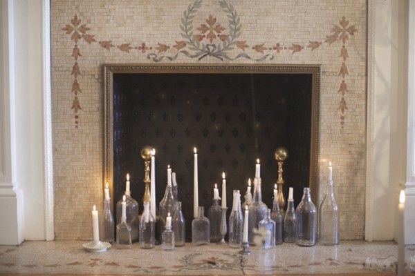 winter white candles and glass. elizabeth anne designsHouse Ideas, Candle'S Filled Fireplaces, Vintage Bottle, Candles Fireplaces Bottle, Living Room, Wine Bottle, Old Bottle, Candles Filling, Artificial Fireplaces