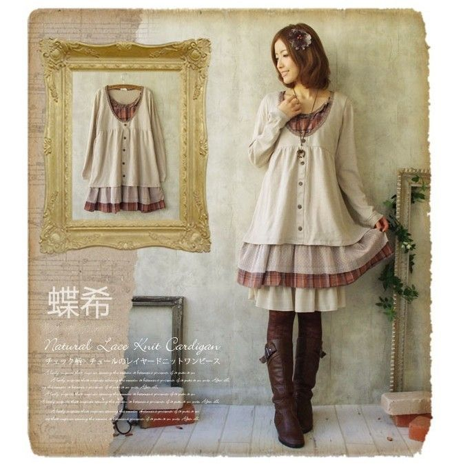 Autumn Winter Mori Girl Style Vintage Retro Cotton Wool Long Sleeve Sweater Plaid Loose Casual Dress Women Faldas-inDresses from Women's Clothing & Accessories on Aliexpress.com | Alibaba Group