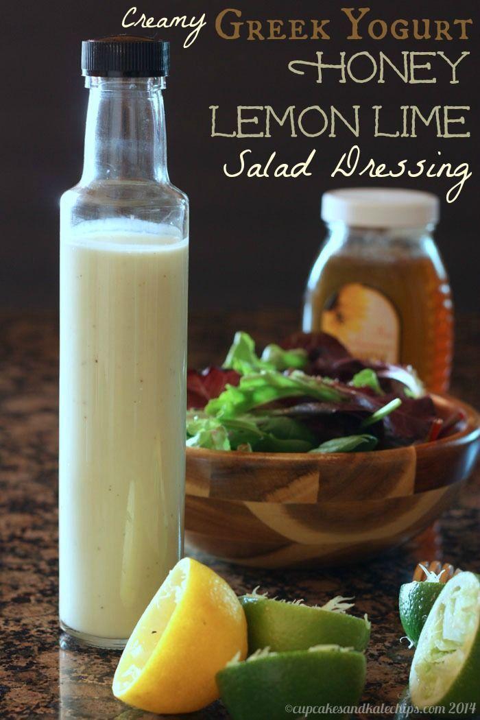 Creamy Greek Yogurt Honey Lemon Lime Salad Dressing - sweet and tangy, you'll love this homemade salad dressing! | cupcakesandkalechips.com | gluten free