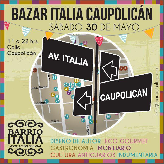 #diseño #gourmet #ecoferia #arte #antigüedades #moda #orgánico. Últimos días para postular al #Bazar Italia Caupolican. Envía tu presentación a info@barrioitalia.com