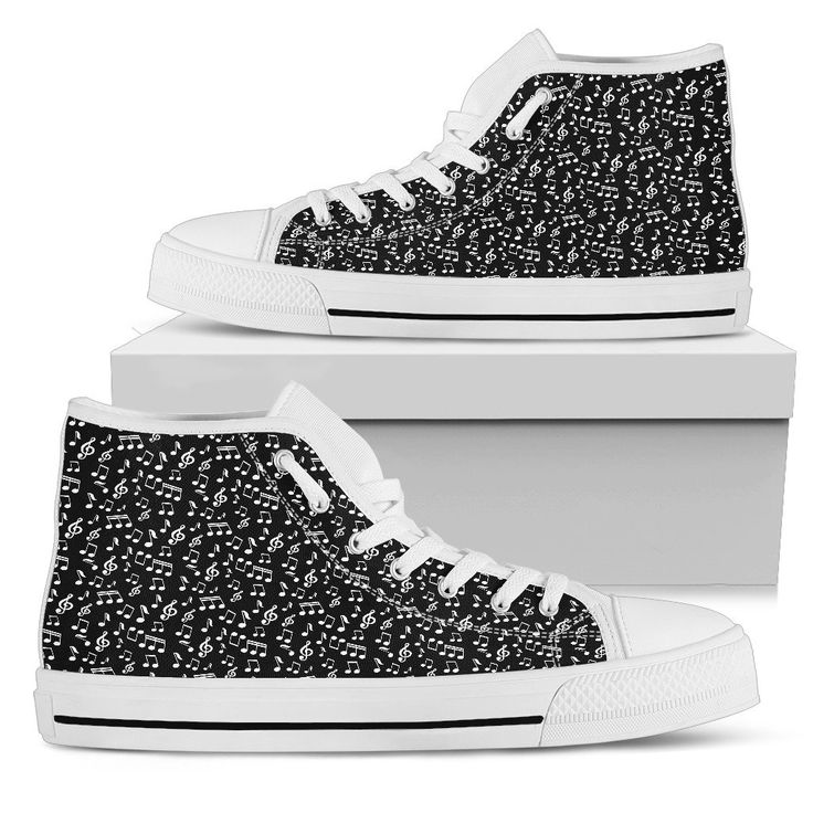 New in our shop! Womens High Top Canvas Shoes. Black Music Note Design http://oompah.shop/products/womens-high-top-canvas-shoes-black-music-note-design