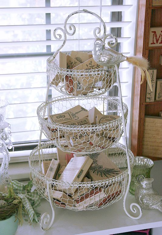 three tiered basket (or hanging basket?) for stamp storage