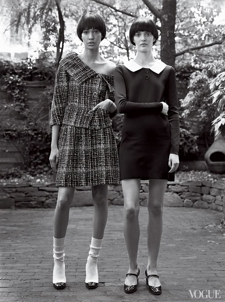 Garçonne. Garçonne - The schoolgirl look was in attendance, too, but even expected touchstones of naïveté—Peter Pan collars, boxy shapes—were elevated to something far more creative. Karl Lagerfeld wove his Chanel tweeds from rope or tulle, while Ralph Lauren gave his uniform dress a mod mini crop. On Smalls, near right: Chanel fantasy tweed jacket, matching skirt ($2,600), and patent leather–and–knit boots; select Chanel boutiques. On Rollinson: Ralph Lau...