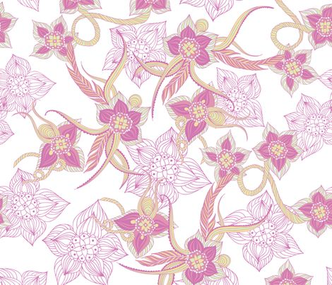 Doodleflowers_melanieortner fabric by funkenflug on Spoonflower - custom fabric